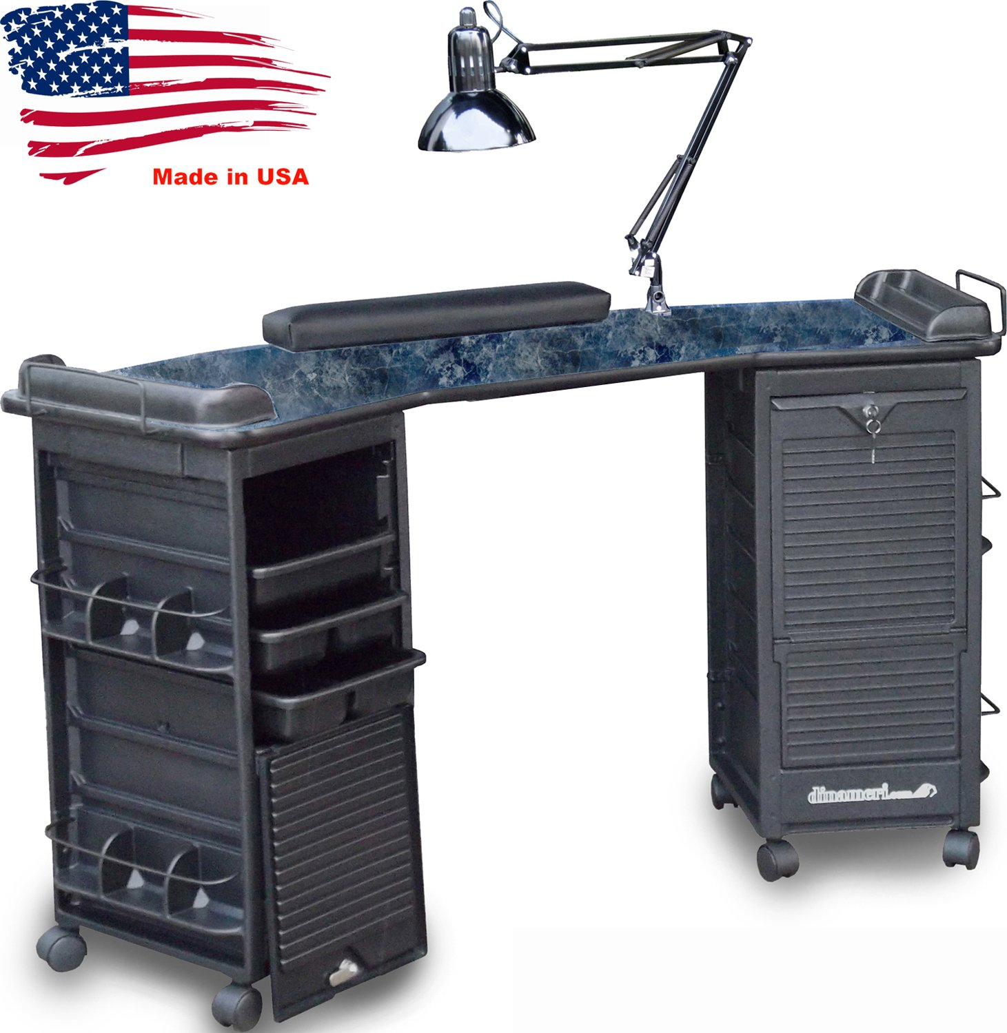 M602 Manicure Nail Table Double Lockable Cabinet Black Marble Lam.top by Dina Meri