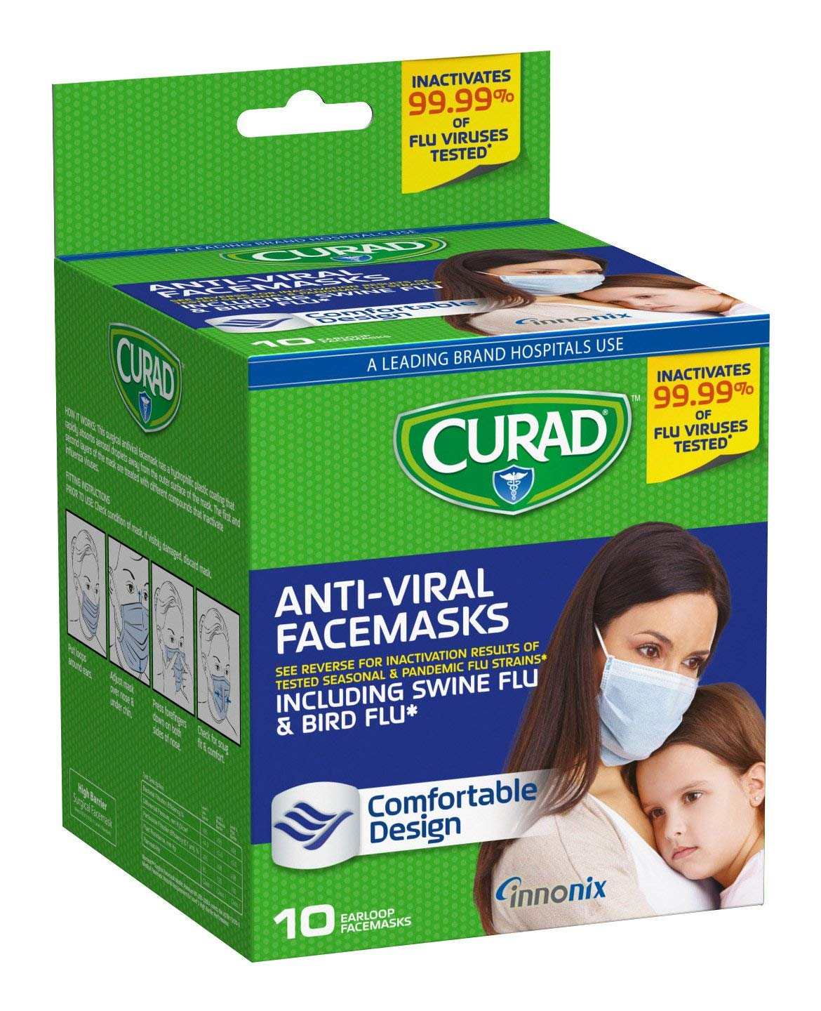 Curad Antiviral TYUDrA Face Mask, 10 Count (Pack of 3) by Curad