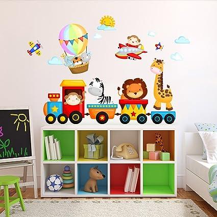 Wall Art R00350 Adesivo Da Muro Per Bambini Motivo Trenino 120 Cm