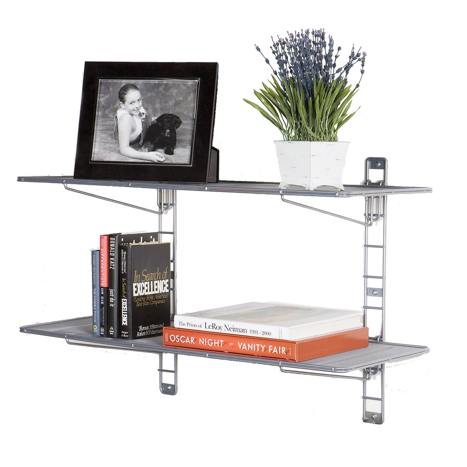 Seville Classics 2-Tier Iron Mesh Adjustable Floating Wall Shelves, 36'' x 14'', Satin Pewter by Seville Classics (Image #3)