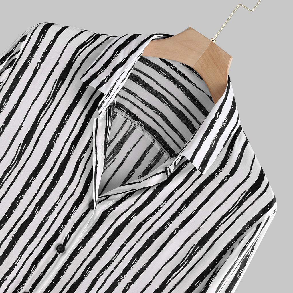 RNTOP Mens Button Down Shirts Mens Autumn Loose Fashion Casual Daily Printed Long Sleeve Shirt Top Blouse