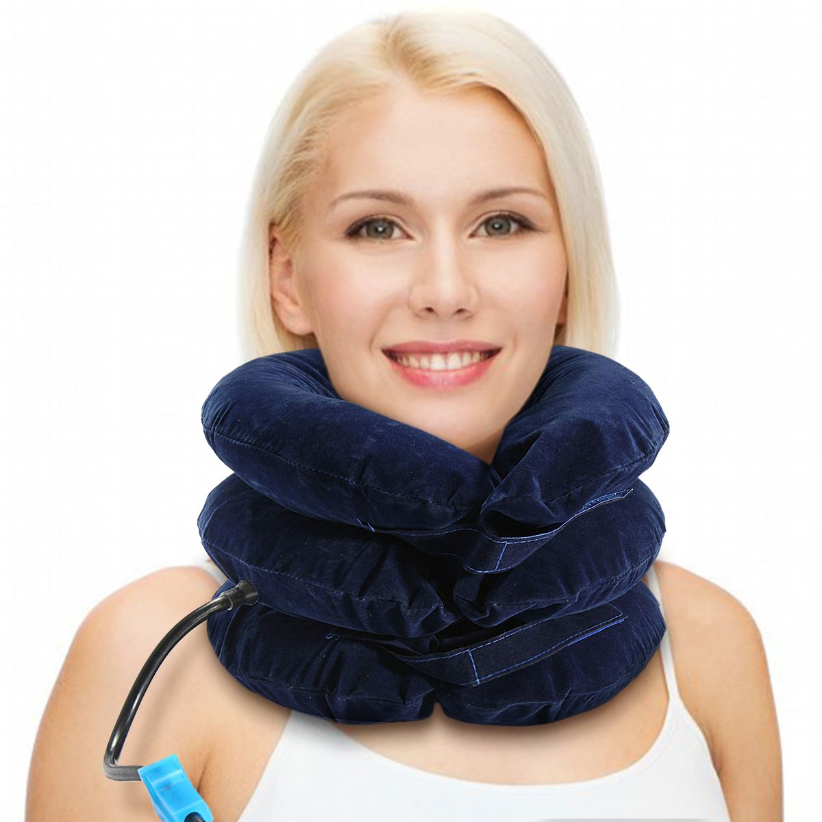 Air Inflatable Pillow Cervical Neck Headache Pain Traction Support Brace Device Blue by Essort (Image #1)