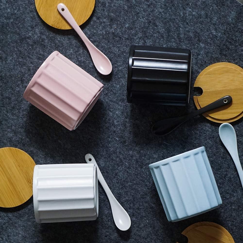 design /él/égant 270 ml rose blanc Sucrier en c/éramique avec cuill/ère /à sucre et couvercle en bambou pour la maison et la cuisine