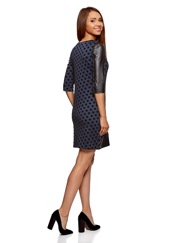 oodji Ultra Damen Kleid mit Flock-Druck und Lederimitat-Besatz: Amazon.de:  Bekleidung