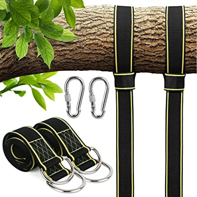 Tree Swing Hanging Kit, Extra Long Adjustable 10 ft Tree Swing Straps + 2 Locking Carabiners + Swivel , Tree Swing Hanger Set for Tire Swings Outdoor Swing Hangers & Hammock Chair Straps Rope (Black): Toys & Games
