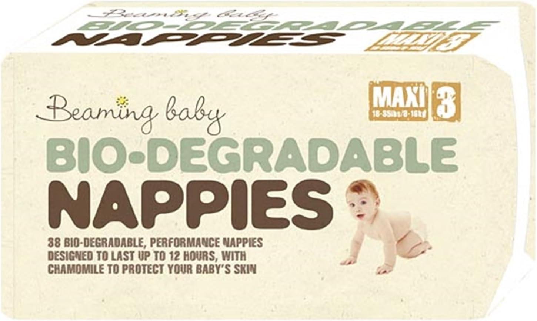 4 Paquetes Beaming Baby Pañales Biodegradables MAXI (136) Tamaño 3 ...