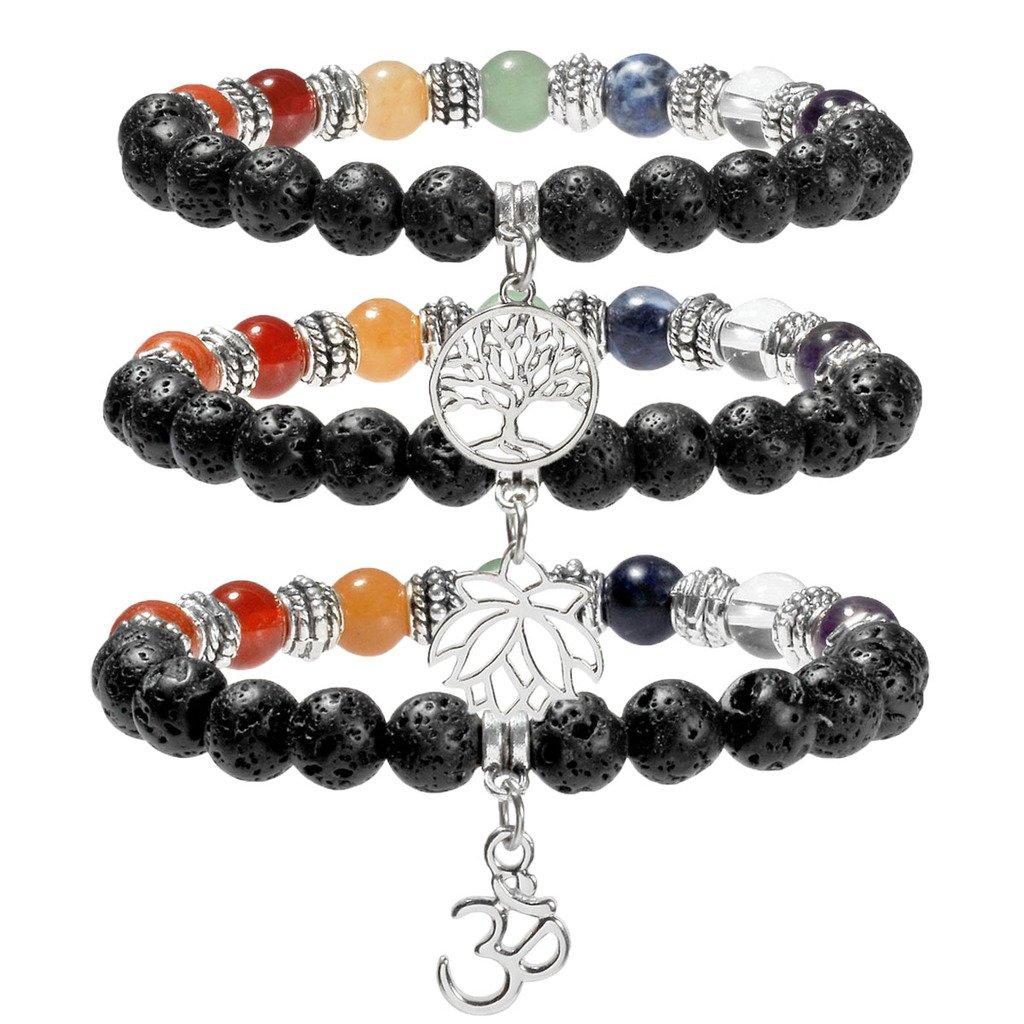 Top Plaza Lava Stone Diffuser Bracelet 7 Chakra Healing Gemstone Beads W/Tree of Life/OM/Lutos Charm Bracelet(Pack of 3)