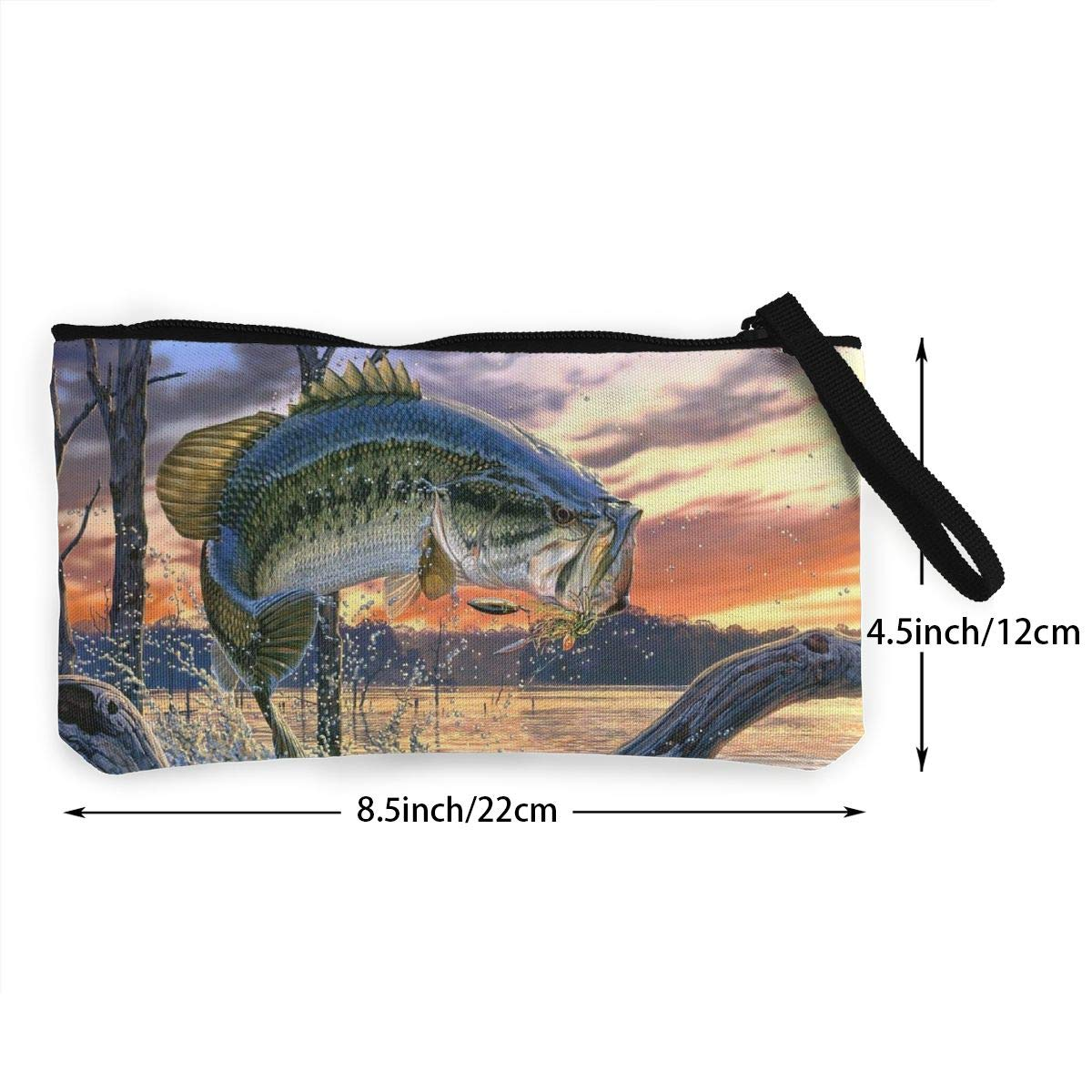 Make Up Bag,Cellphone Bag With Handle Jumping Out Of The Sea Zipper Canvas Coin Purse Wallet
