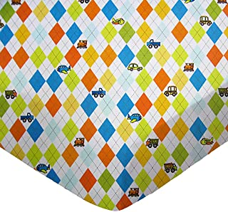 product image for SheetWorld Fitted Pack N Play (Graco) Sheet - Argyle White Transport - Made In USA