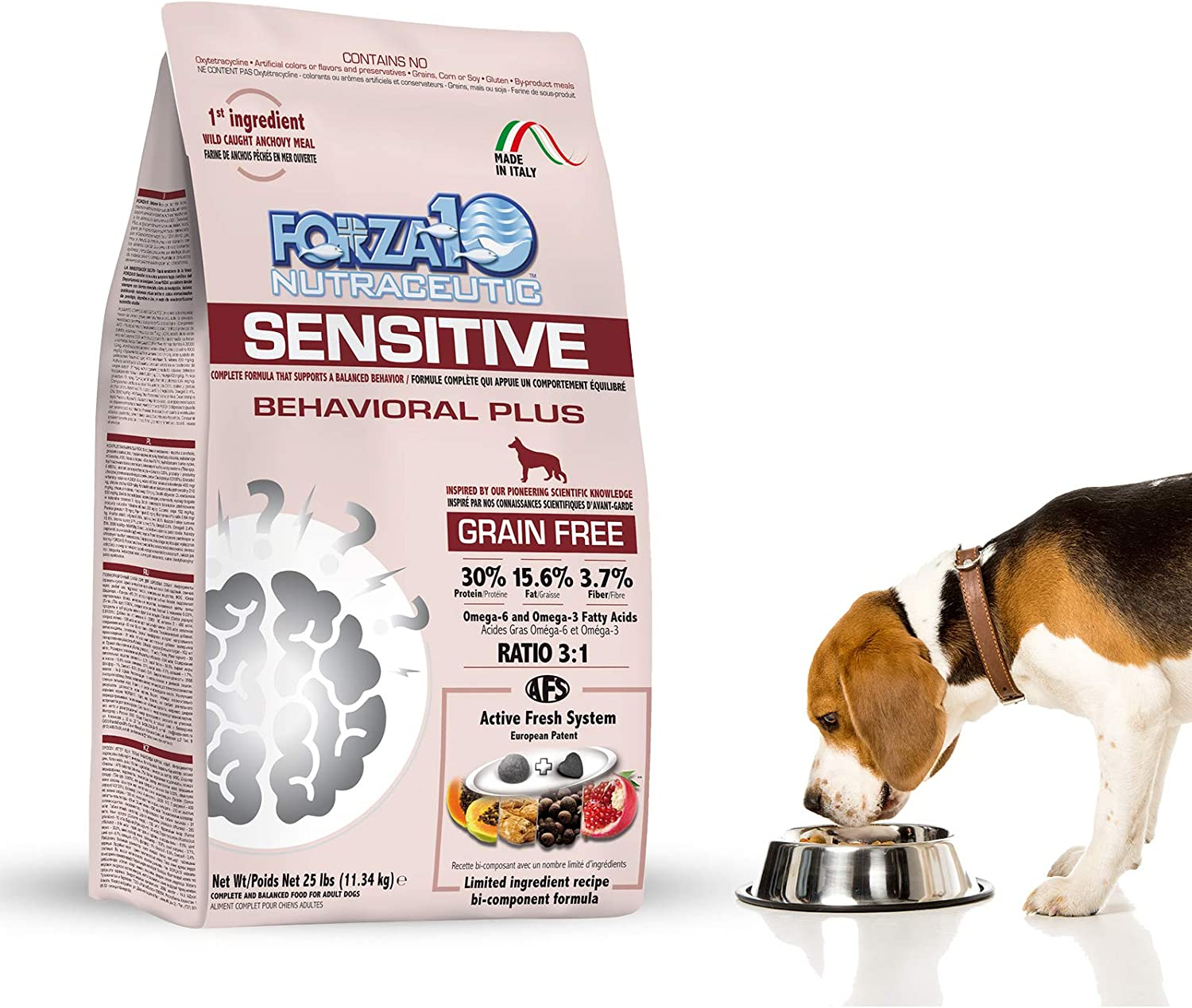 Forza10 Sensitive Behavioral Dry Dog Food, Grain Free Chicken Free Anxiety Veterinarian Recommended No Prescription, Fish Flavor, 25 Pound, Adult Dog