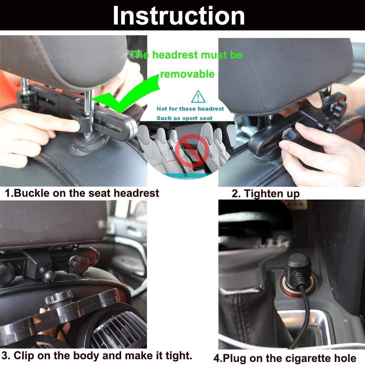 SEAMETAL Car Fan for Back Seat, Car Seat Fan Cigarette Lighter, Fan for Car 12V Headrest Black 4inches (Blue) by SEAMETAL (Image #7)
