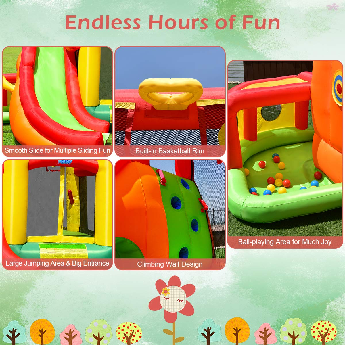 Costzon Inflatable Bounce House, 11 in 1 Mighty Kids Jump and Slide Castle  w/ Climbing Wall, Tunnel, Basketball Hoop, Playing Area, Including Oxford