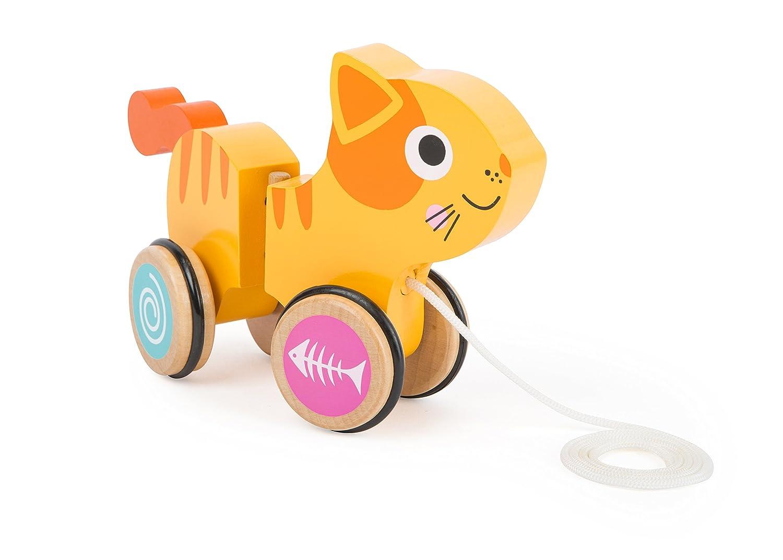 mit drehbarem Gelenk in der Mitte gummierte und wippende R/äder sowie beweglicher Schwanz small foot 10707 Nachziehspielzeug in Katzen-Form