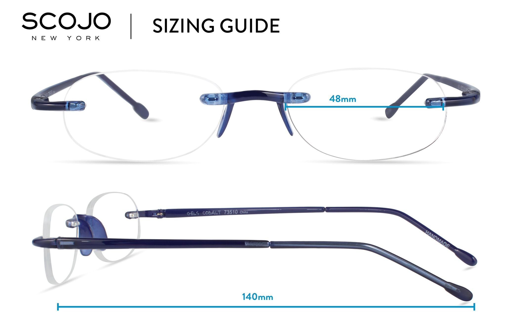Gels - Lightweight Rimless Fashion Readers - The Original Reading Glasses for Men and Women - Cobalt Blue (+2.50 Magnification Power) by Scojo New York (Image #5)
