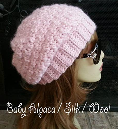 f30b737f5a4 Amazon.com  Pink Alpaca Winter Hat for Women Slouchy Beanie Made in USA   Handmade