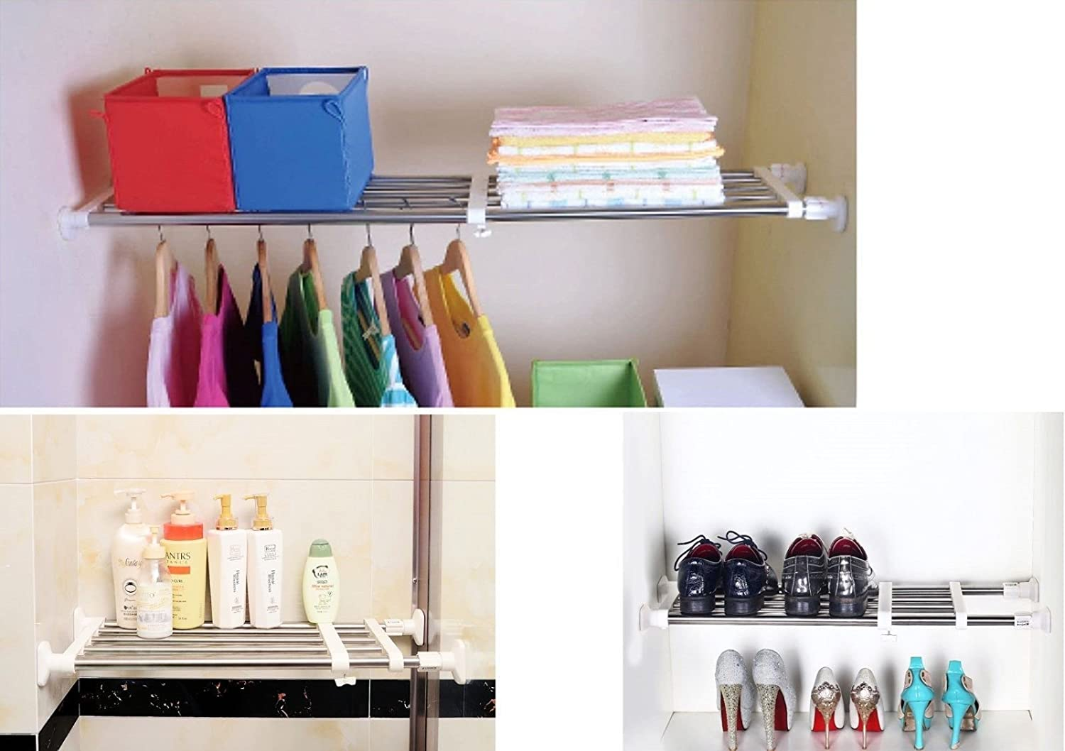 Usave Adjustable Separator Shelf For Wardrobe Bathroom Kitchen Cupboard Bookcase Compartment Collecting (Extension Scale 63-95cm)