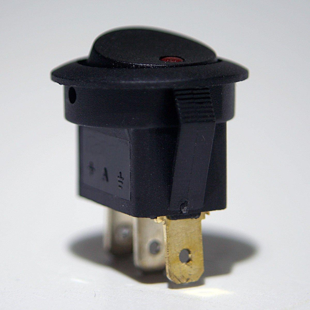 Kfz-Wippschalter 1polig beleuchtet rot 12V//16A