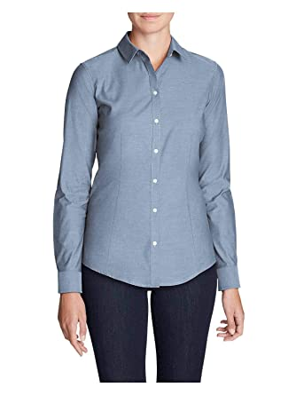 24e85f4132 Eddie Bauer Women s Wrinkle-Free Long-Sleeve Shirt - Solid at Amazon  Women s Clothing store