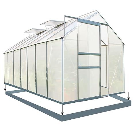 Zelsius Aluminium Gewächshaus für den Garten | inklusive Fundament | 430 x 190 cm | 6 mm Platten | Vielseitig nutzbar als Tre