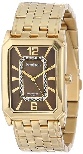 Armitron Men s 20M4210BNGP Swarovski Crystal Accented Gold-Tone Brown Dial Dress Watch