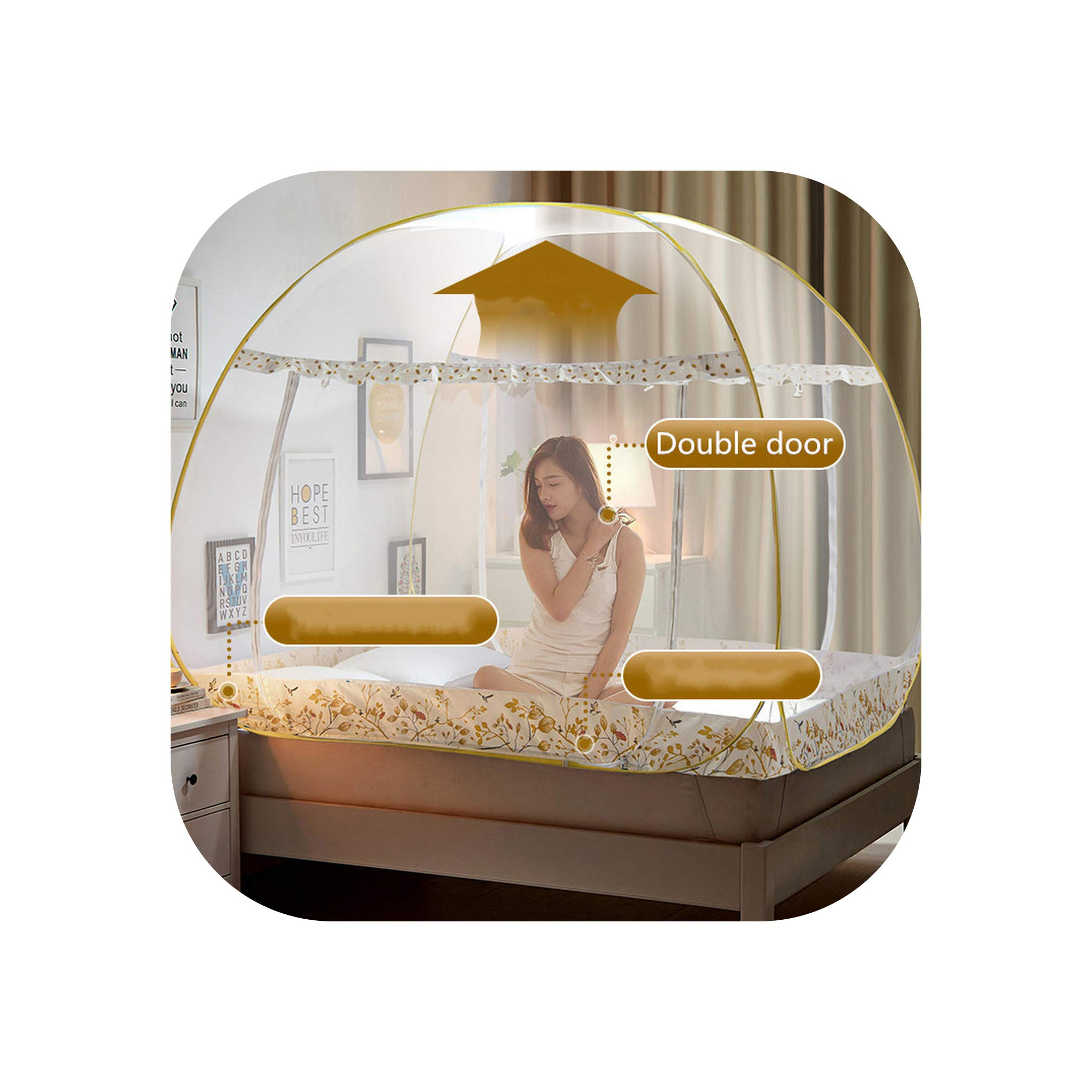Folding Mosquito Net for Student Adults Double Bed Mosquito Netting Mesh Modern Style Anti Falling Bed Nets,Yellow Spring 2 Door,1.5m (5 feet) Bed