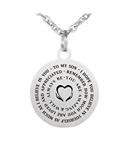 CraDiabh Family Friend to My Son Necklace Never Forget Hope Love Stainless Waterproof Chains Birthday Necklace Gift Son (Son(I Hope You))