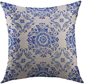 Mugod Decorative Throw Pillow Cover for Couch Sofa,White Delft Blue Style Watercolour Traditional Dutch Floral Tiled Flowers in Circular Rosette Cobalt Home Decor Pillow case 18x18 Inch
