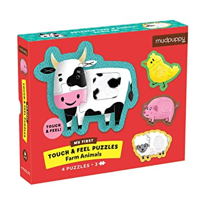 Mudpuppy Farm Animals My First Touch & Feel Puzzle – Ages 1-3 – Includes 4, 3-Piece Puzzles Per Box – Textured Pieces for a Fun Sensory Experience: Toys & Games
