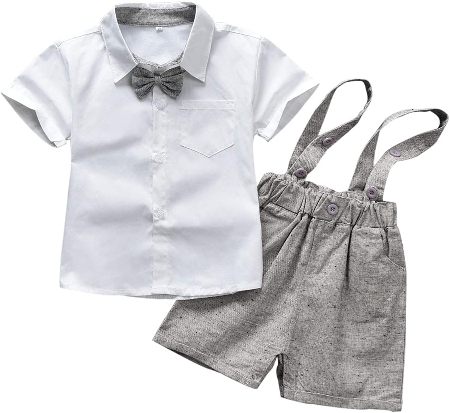 Toddler Baby Boy Gentleman Outfit Romper Suit Infant Boys Suspender Overall Shorts Pants and Short Sleeve Bowtie Shirt 2PCS