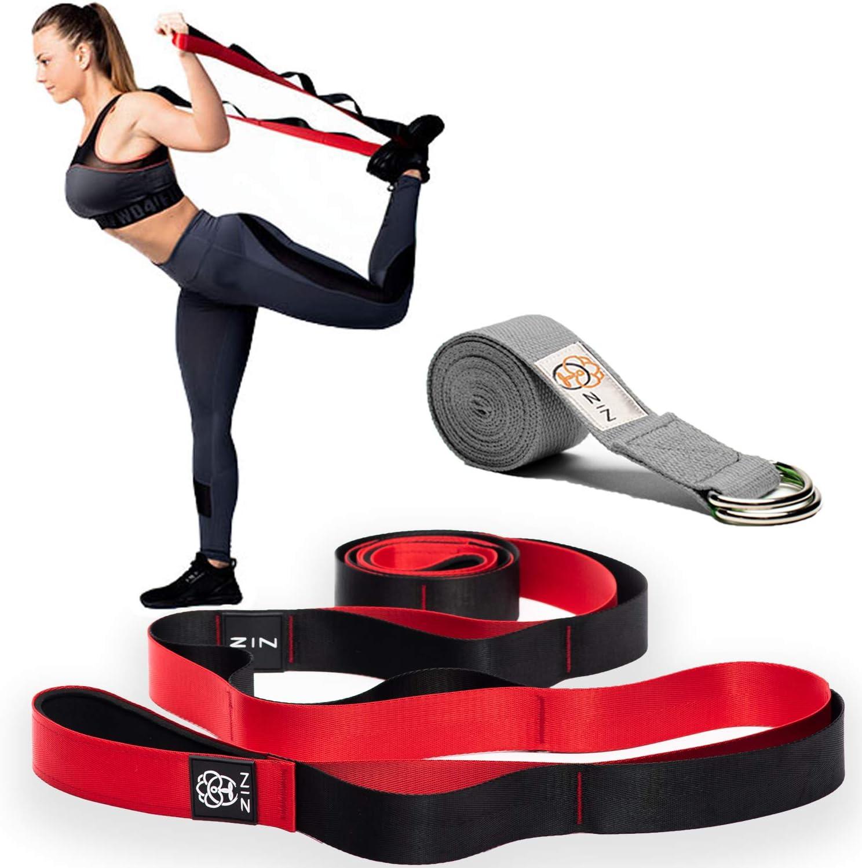 New D-Ring Yoga bands Stretch Strap Training Belt Leg Fitness Exercise Gym
