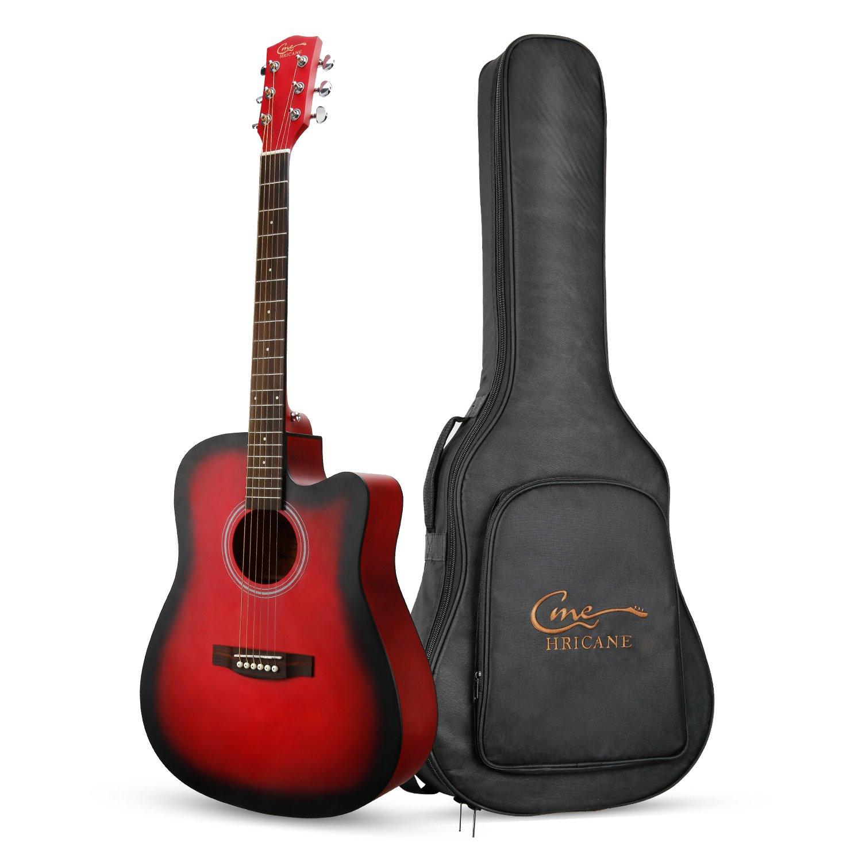 Guitarra Acústica, Hricane Guitarra Clásica 41 Pulgadas Acabado Mate con Cuerda de Metal, Bolsillo