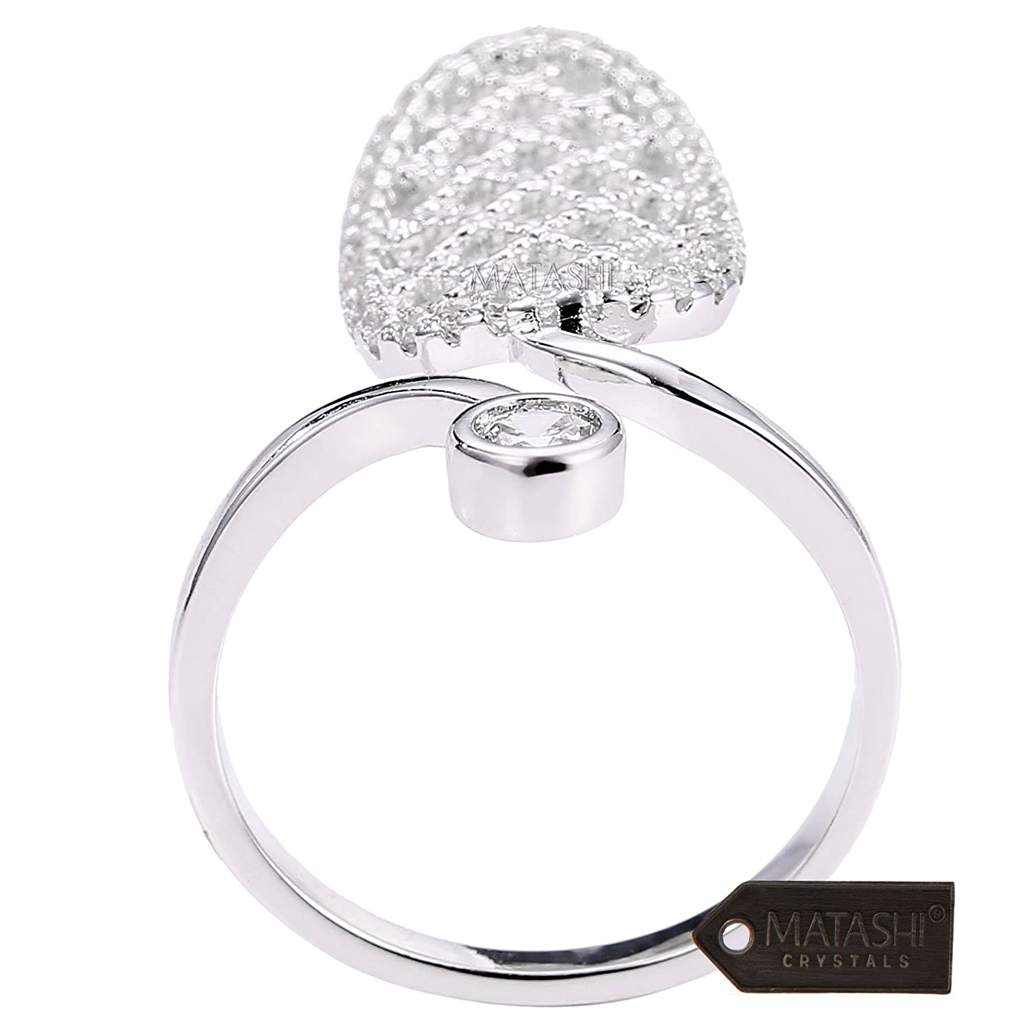 Matashi Rhodium Plated Almond Shape Wrap Ring Size 7:Unique-Modern Accessory for Women /& Girl,Elegant Gift Idea for Valentines,Non-Traditional-High-End,CZ Stones MTJR30897