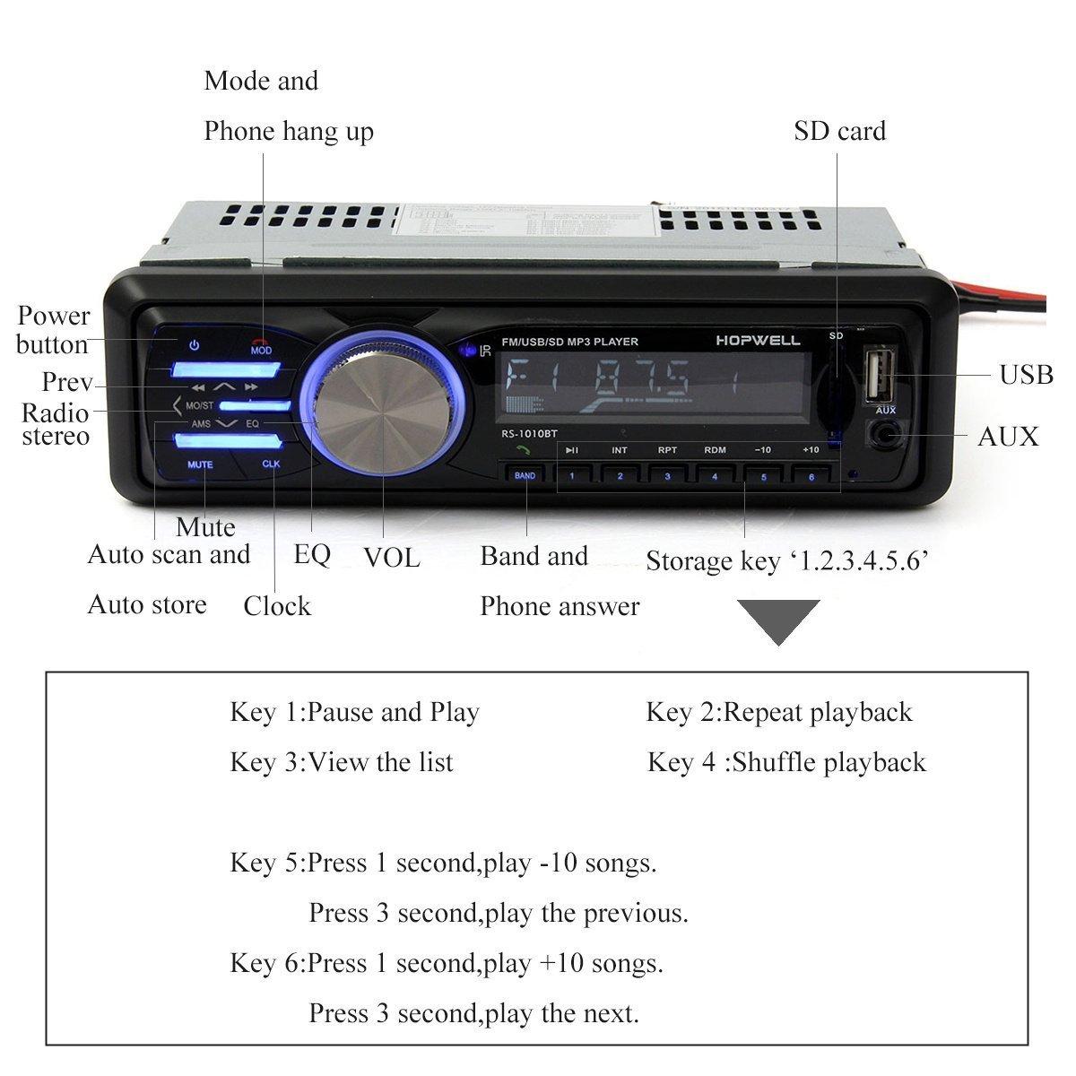 MATCC AutoRadio Radio de Voiture Audio USB//SD Port Lecteur MP3 R/écepteur Bluetooth Mains Libres Support T/él/écommande Voiture Bluetooth St/ér/éo