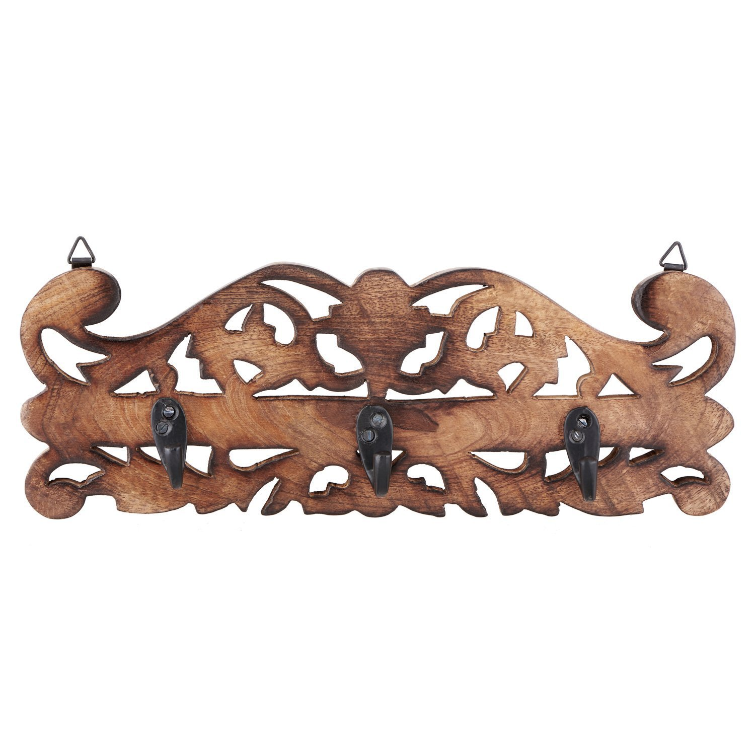 Mango wood 2 Wooden Decorative Wall Hook Key Holders Organizer Hanger Rack Coat Hangers For Office /& Home Decor