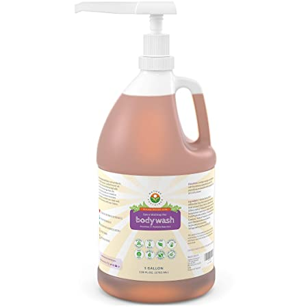 Organic Soapberry Body Wash 1 Gallon w Pump – Natural Acne Body Wash With Raw And Wild Plants for Sensitive And Dry Skin – Probiotics Shower Gel – Hypoallergenic And pH Balance