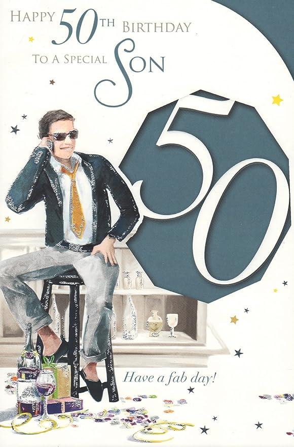 Hijo 50th Tarjeta de cumpleaños - happy 50th Birthday A un ...