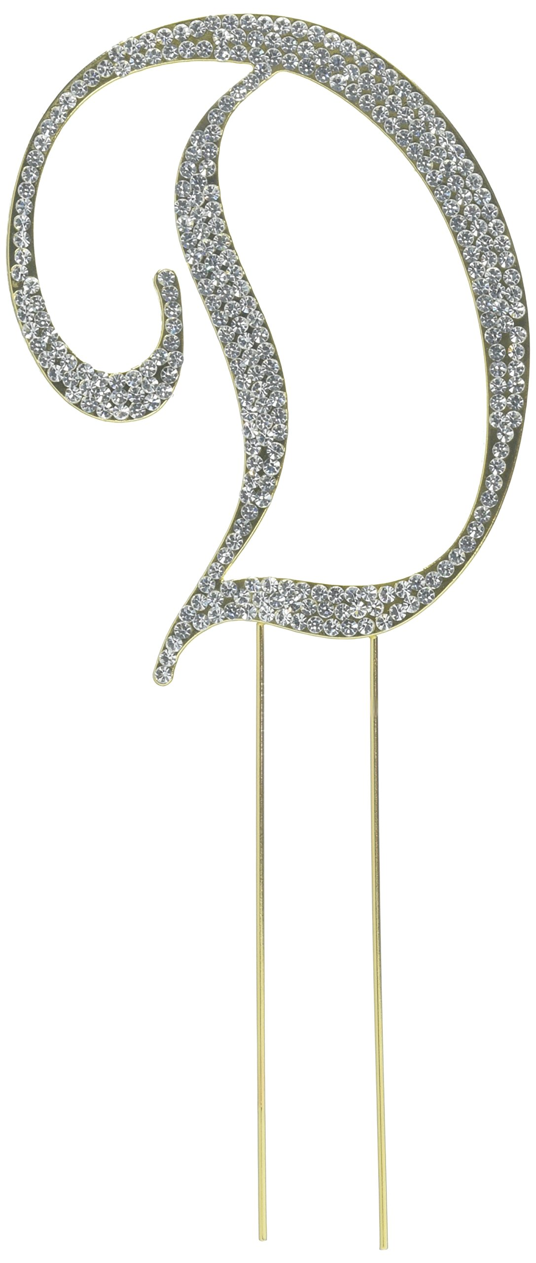 Unik Occasions Sparkling Collection Crystal Rhinestone Monogram Cake Topper - Letter D, Large, Gold