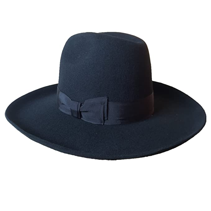 Black Israel Jewish Hat Wool Hasidic Jew Fedora Cap Wide Brim 10cm 4 in  (Sizing 9de6d71f285