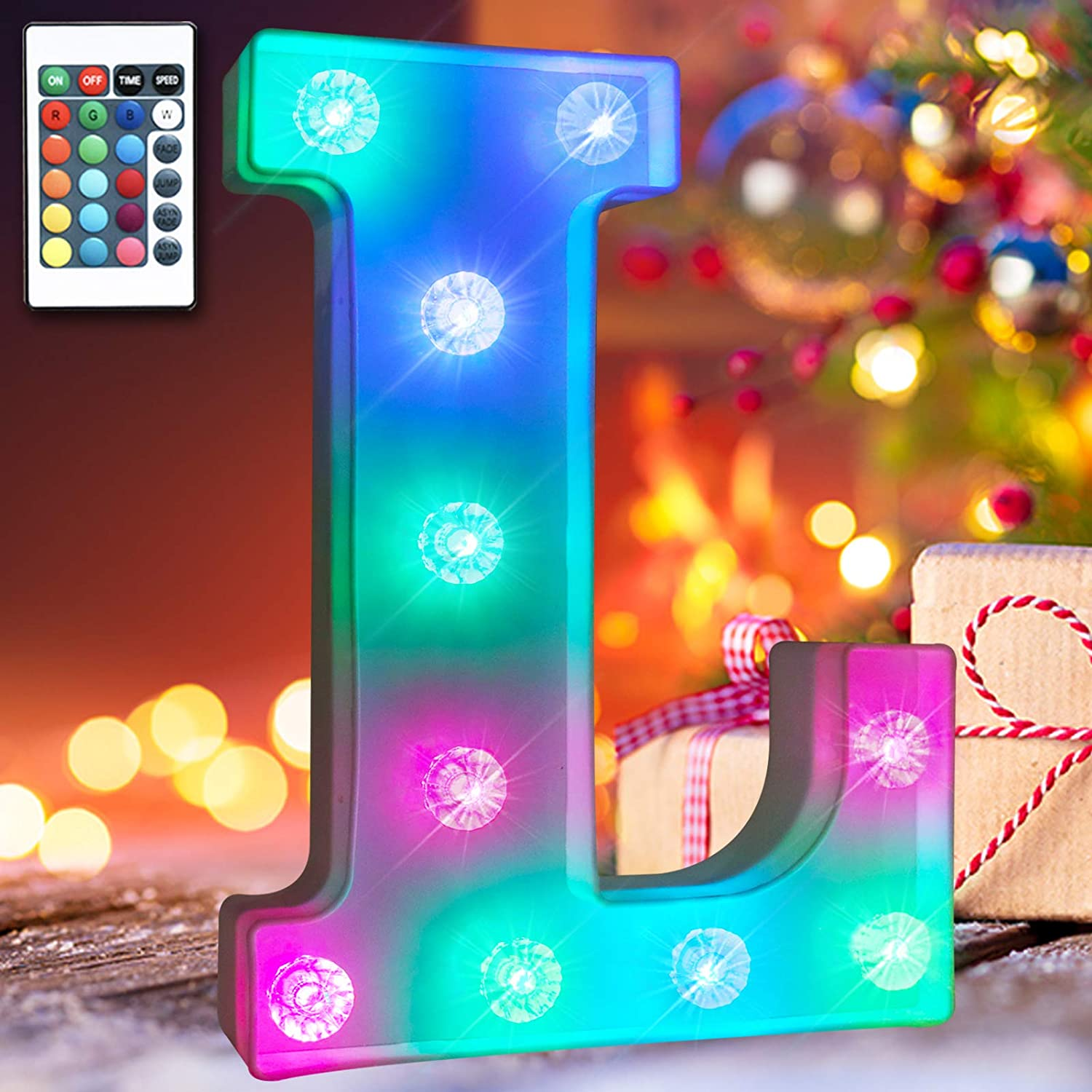 16 Color Changing Marquee Letter with Lights, Battery Power Remote Control Diamond Bulb Words Light Bar Signs Bedroom Decor for Teen Girls Wall Decals- RGB Letter L