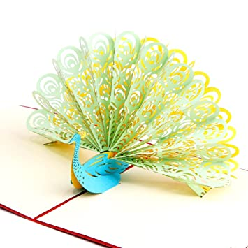 Paper spiritz peacock pop up birthday anniversary cards thank you paper spiritz peacock pop up birthday anniversary cards thank you wedding greeting card laser cut 3d m4hsunfo