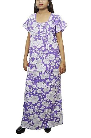 Indiatrendzs Women Cotton Nightdress Long Printed Nighty Blue White  Amazon. in  Clothing   Accessories 3c9549739