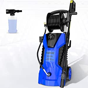 TEANDE Pressure Washer 3800PSI Electric Pressure Washer with Reel 2.8GPM Portable High Power Washer with Adjustable Spray Nozzle, Foam Cannon,for Cleaning Cars,Homes,Decks,Driveways,Patios (Blue)