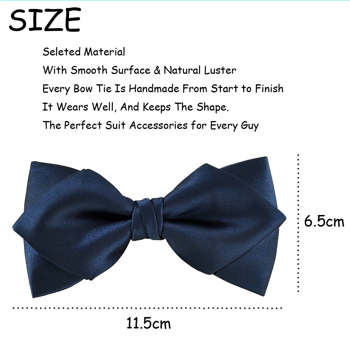 5172a35d774d2 Luxurious Matte Satin Solid Navy Blue Bowtie Mens Bow Tie by Murong Jun |  Great for a Wedding or Tuxedo (Diamond bowtie) at Amazon Men's Clothing  store: