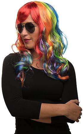 Balinco Unicornio Peluca de Pelo Largo en Colores del Arco Iris Multicolor para Hombre & Mujer