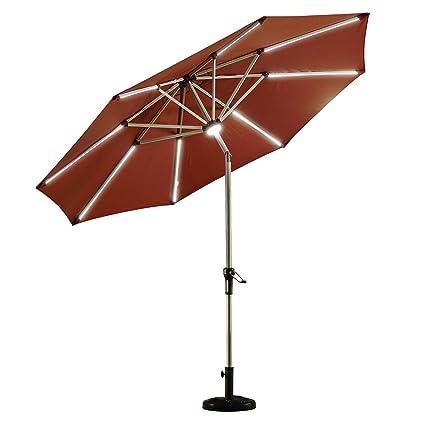 PURPLE LEAF 9 Feet Solar Powered LED Lighted Patio Umbrella With Push  Button Tilt And Crank