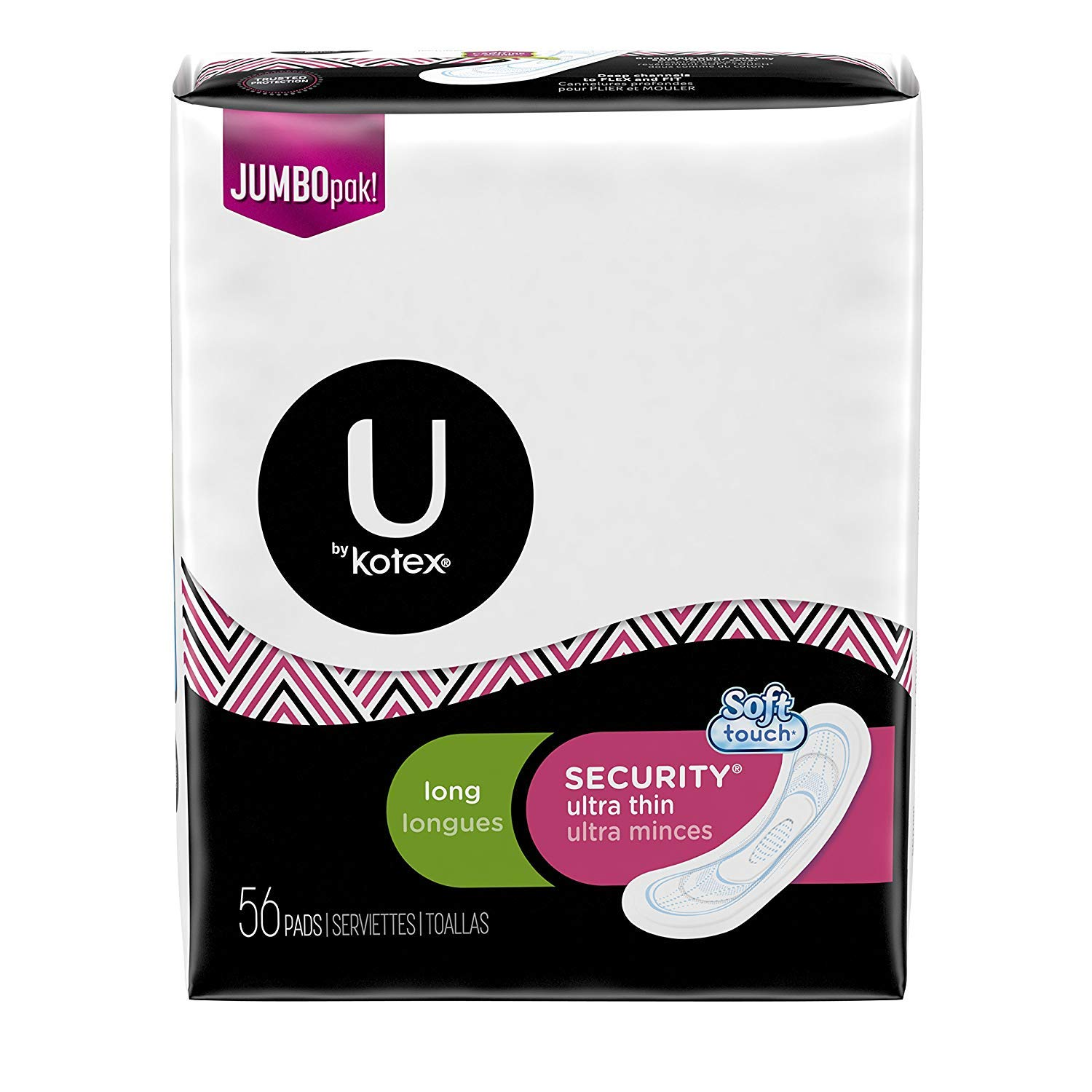 U by Kotex Security Ultra Thin Pads, Long, Fragrance-Free, 56 Count (4-Pack (56 Count))