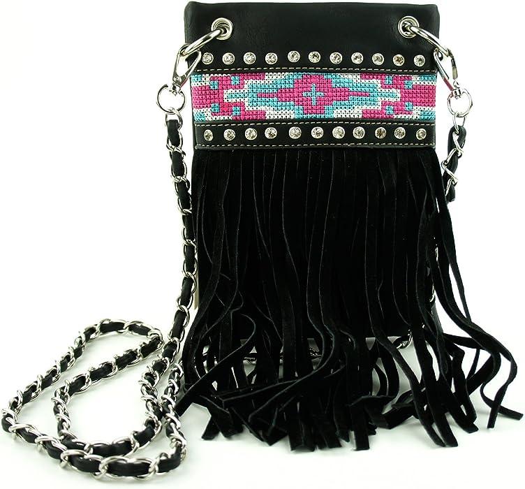 ab27edafe394 Fringe Tassel Tribal Pattern Crossbody Messenger Bag Shoulder Purse Western  Handbag