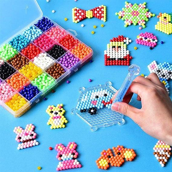 Queta Abalorios Cuentas de Agua 3200 Perlas 24 Colors Fusible Beads Kit con Accesorios DIY de Agua Craft Sticky Kit Set para Niños Niños Crafting Juguetes Educativos: Amazon.es: Juguetes y juegos