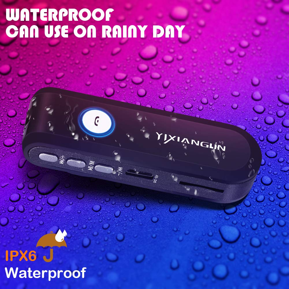 Wireless Bluetooth Receiver|Car Bluetooth Receiver|Car Kit 3.5mm Aux|AVRCP//A2DP//HSP//HFP|HiFi Sound Stereo for Home Audio|Waterproof IPX6|FM Radio|Built-in Mic Hands Free Calling by YIXIANGLIN