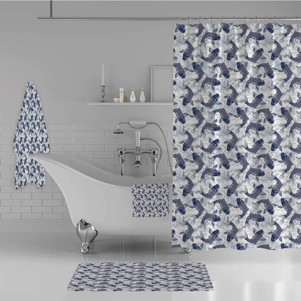 iPrint Bathroom 4 Piece Set Shower Curtain Floor mat Bath Towel 3D Print,Patterned Background Ancestral Animals Asian,Fashion Personality Customization adds Color to Your Bathroom.